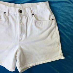 VTG High Waisted White Jean Shorts